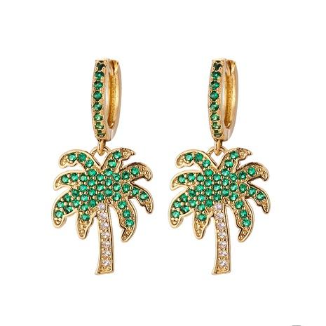 Korean long coconut tree color diamond earrings  NHWG357328's discount tags