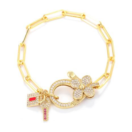 Korean style key lock four-leaf clover zircon interlocking hollow chain bracelet  NHWG357329's discount tags