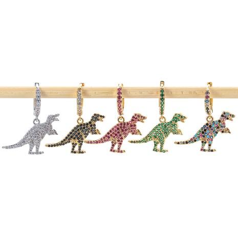 fashion green dinosaur copper inlaid zircon earrings  NHWG357334's discount tags