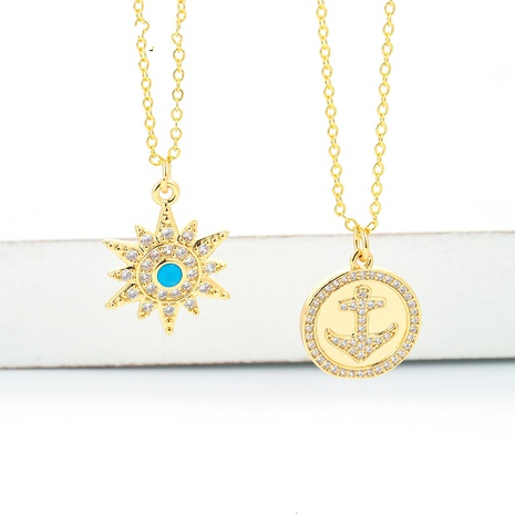 simple round card diamond-studded moon six-pointed star pendant clavicle chain necklace NHWG357335's discount tags