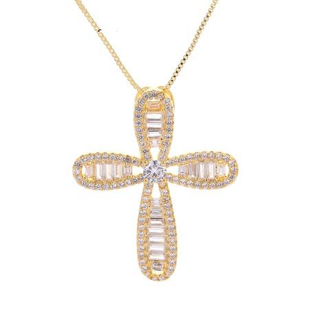 fashion diamond-studded cross pendant necklace  NHWG357339's discount tags