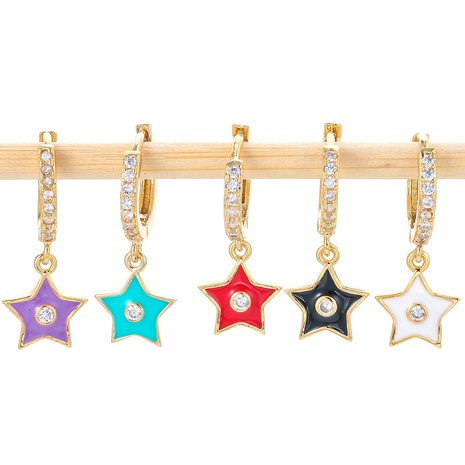 fashion geometric star moon heart drop oil earrings  NHWG357341's discount tags