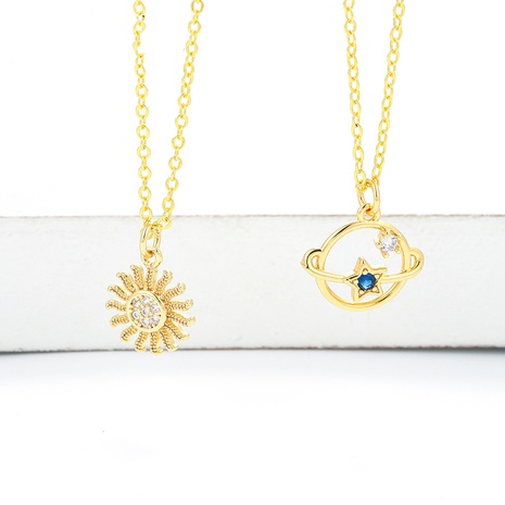 fashion star blue planet universe diamond sun flower clavicle chain necklace  NHWG357342's discount tags