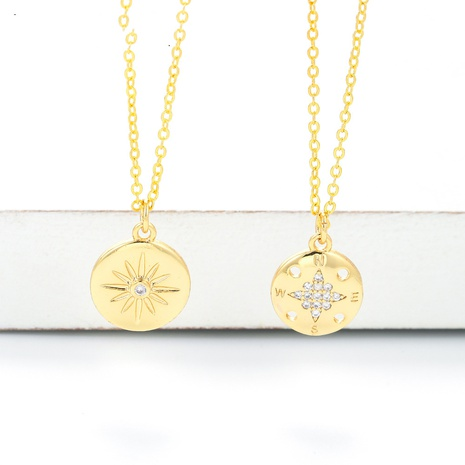 retro six-pointed star sun snowflake necklace  NHWG357343's discount tags