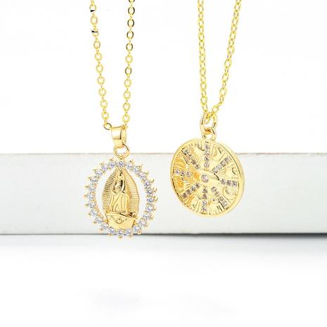 creative Virgin Mary geometric pendant micro-inlaid zircon necklace wholesale NHWG357346's discount tags