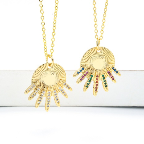 Korean Style Scallop Irregular Shape Pendant Colored Zircon Necklace  NHWG357347's discount tags
