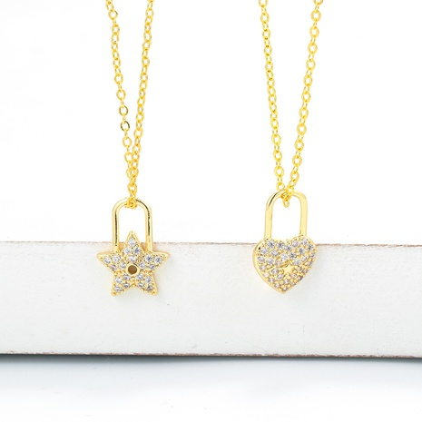 simple mini zircon star pendant clavicle chain necklace  NHWG357348's discount tags