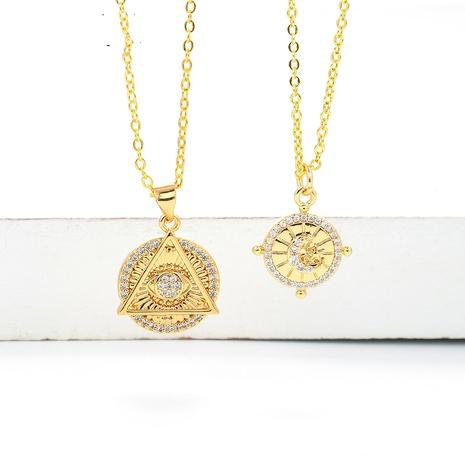 retro bumps irregular round pendant zircon necklace NHWG357350's discount tags