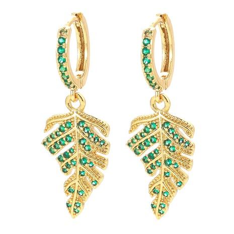 fashion full diamond zircon maple leaf big earrings wholesale  NHWG357352's discount tags