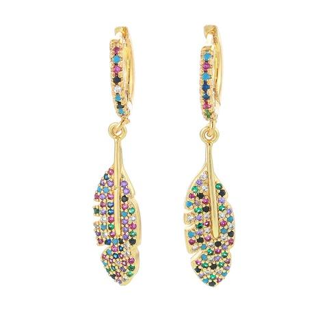 fashion colorful zircon big maple leaf long earrings NHWG357355's discount tags