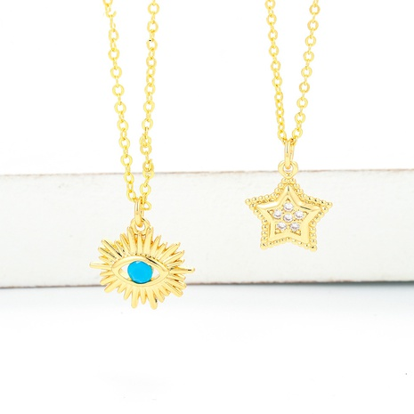 Korean Style Demon Eye Five-pointed Star Pendant Clavicle Chain Necklace NHWG357358's discount tags