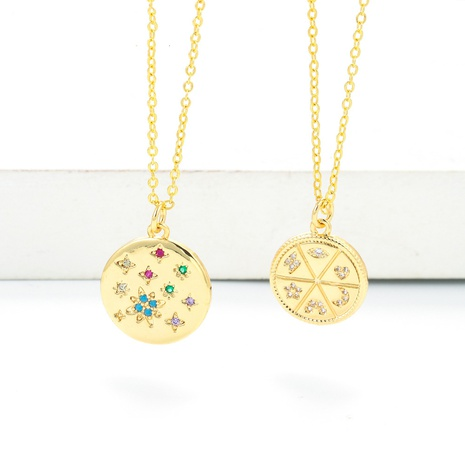 simple fashion disc diamond star pendant clavicle chain necklace NHWG357359's discount tags