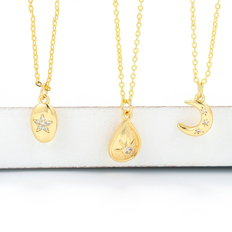 fashion simple creative flower star moon pendant short necklace  NHWG357361's discount tags