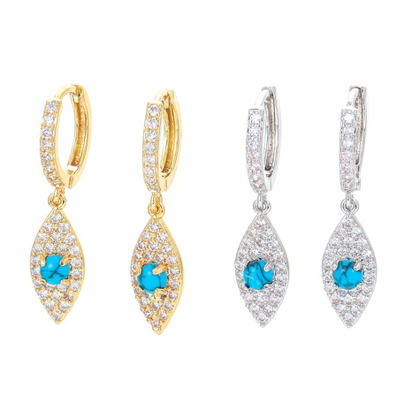 fashion copper micro-inlaid color zircon earrings wholesale  NHWG357366's discount tags