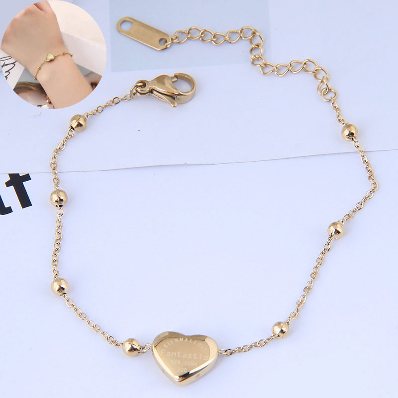 Bracelet en acier au titane de mode d39amour simple OL doux de mode corenne NHSC358960