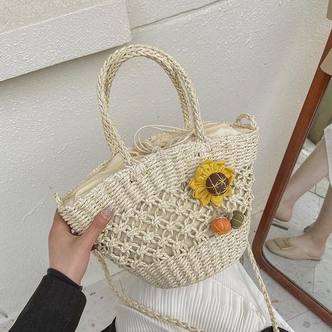 fashion straw bucket woven messenger bag NHAV358239's discount tags