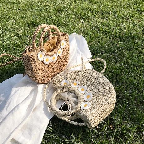 Summer woven tote bag daisy shoulder bag fashion messenger straw woven bag NHAV358245's discount tags