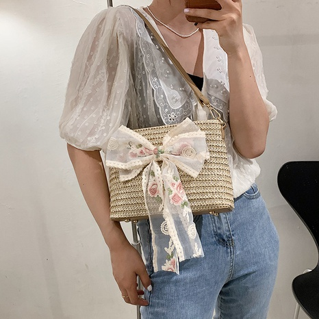 sac seau en paille tressée à la mode NHAV358250's discount tags