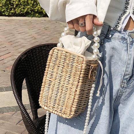 petit sac carré en paille tissée à la mode NHAV358253's discount tags