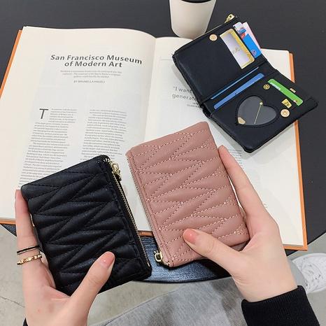 Porte-monnaie en fil de broderie pour femme, petit porte-monnaie à rabat NHAV358257's discount tags