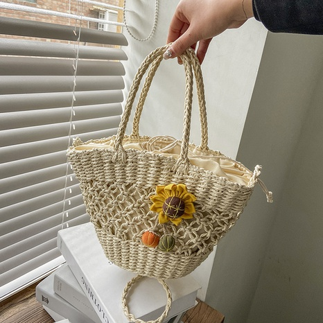 sac panier tressé en paille portable à la mode NHAV358278's discount tags