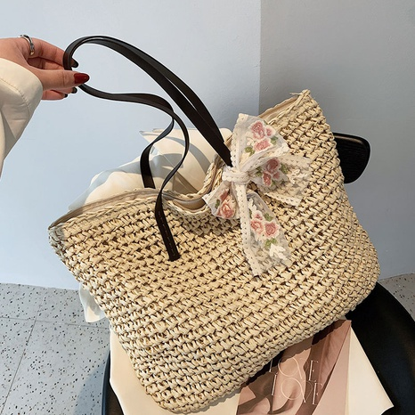sac fourre-tout en paille de grande capacité NHAV358279's discount tags