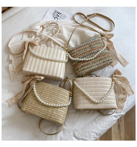 sac tissé en paille aux aisselles avec chaîne de perles à la mode NHAV358281's discount tags
