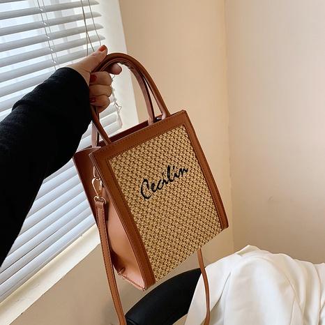 sac carré portable tissé en paille de mode NHAV358289's discount tags