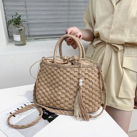 sac de messager en paille tissée à la mode NHAV358320's discount tags
