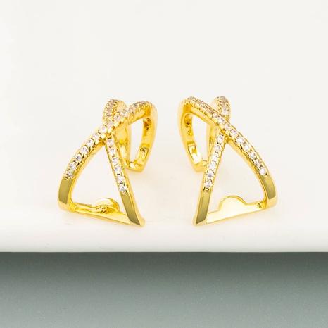 Boucles d'oreilles en forme de croix géométrique sans percée plaquées de cuivre en or 18 carats avec clip d'oreille en zircon micro-incrusté NHLN358346's discount tags