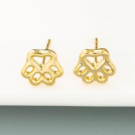 Boucles d'oreilles empreintes de pas en forme de cœur creux plaqué cuivre pur Boucles d'oreilles STUD en or 18 carats NHLN358345's discount tags