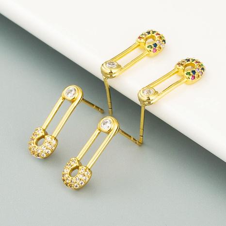 Boucles d'oreilles mini broches en cuivre pur micro-incrusté de zircons plaqué or 18 carats NHLN358340's discount tags