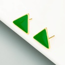 Copper goldplated green dripping stud earrings  NHLN358339