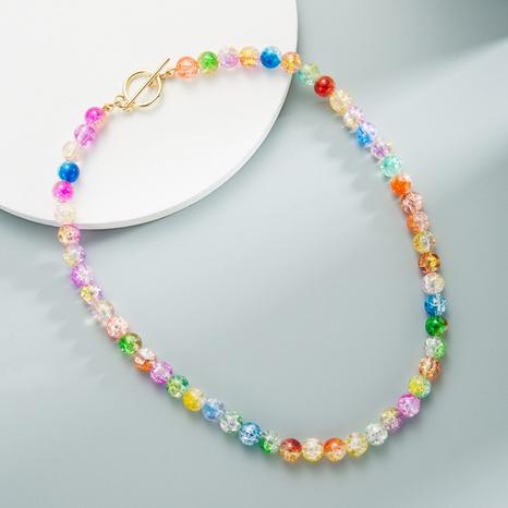 Collier en résine transparente en verre coloré chaîne de clavicule perlée à la main NHLN358351's discount tags
