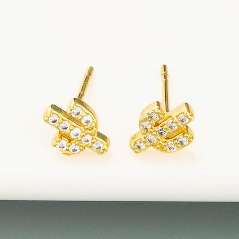 Boucles d'oreilles en forme de mini cactus Boucles d'oreilles en zircon micro-incrusté plaqué cuivre NHLN358338's discount tags