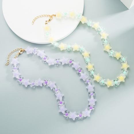 Collier de perles de millet en résine transparente étoile chaîne de clavicule perlée à la main NHLN358350's discount tags