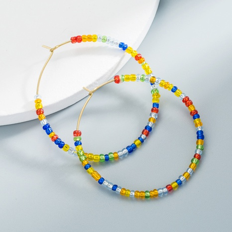C-shaped beaded earrings colorful geometric earrings NHLN358352's discount tags