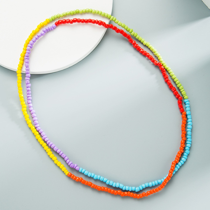 Bohemian mixed color rice bead long necklace handmade beaded elastic rope necklace NHLN358349