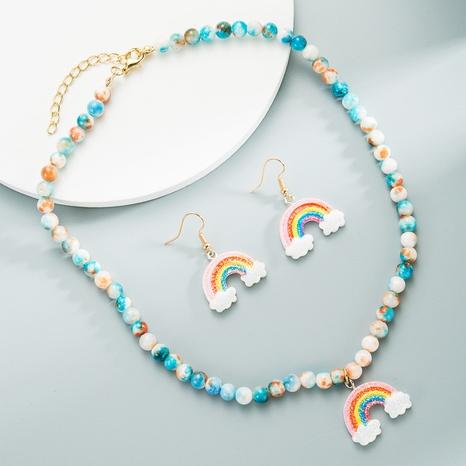 Blue beads imitation jade bohemian necklace earrings set rainbow jewelry NHLN358353's discount tags