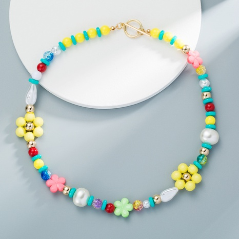 Bohemian Colorful Beads Imitation Pearl Flower Necklace Mixed Color Handmade Beaded Necklace NHLN358354's discount tags