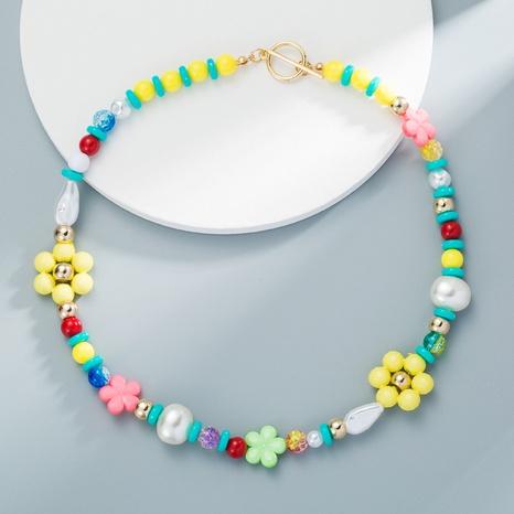 Collier de fleurs de perles d'imitation de perles colorées bohèmes Collier de perles fait main de couleur mélangée NHLN358354's discount tags