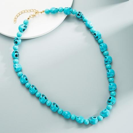 Collier tête de mort turquoise coloré à la mode collier tête de fantôme turquoise fait main en gros NHLN358355's discount tags