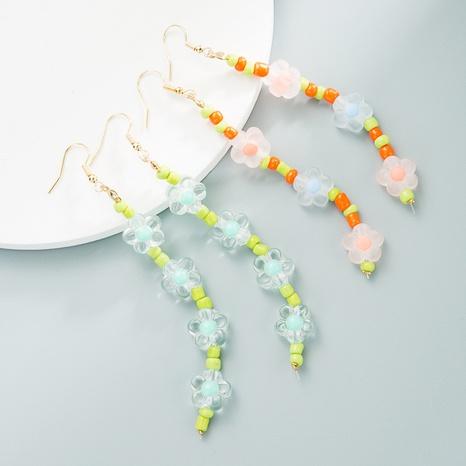 Colored bead flower earrings handmade beaded long earrings  NHLN358358's discount tags