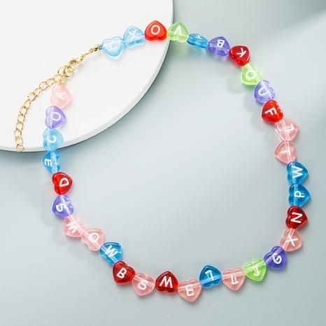 Alphabet anglais macaron couleur mélangée en résine en forme de coeur collier de perles à la main chaîne de la clavicule NHLN358359's discount tags