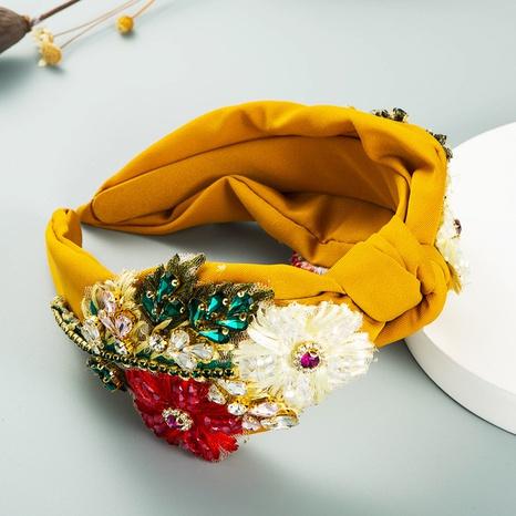 Bandeau de fleurs en cristal tissé à la main avec diamant en tissu rétro NHLN358360's discount tags