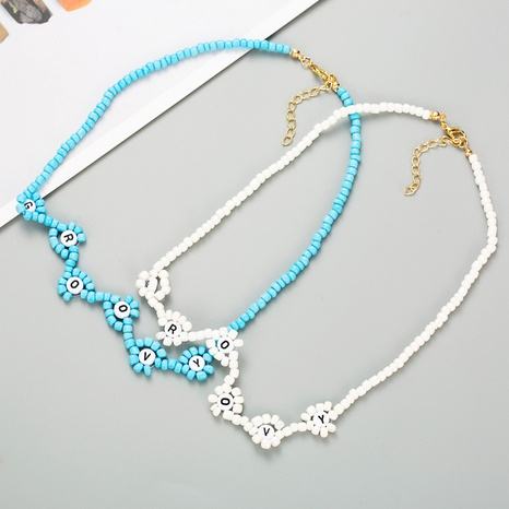 creative blue rice beads English letters handmade beaded bohemian retro style necklace NHLN358930's discount tags