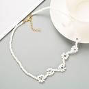 creative blue rice beads English letters handmade beaded bohemian retro style necklace NHLN358930