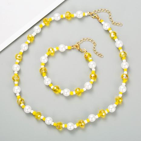 fashion Bohemia style imitation pearl crystal short necklace set NHLN358927's discount tags