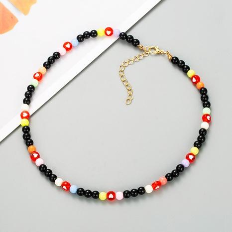 retro boho style colored heart-shaped beads handmade beaded necklace NHLN358926's discount tags