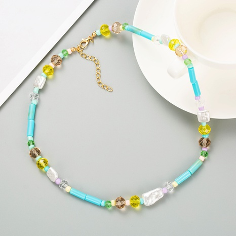 bohemian creative geometric pearl color rice beads necklace NHLN358925's discount tags
